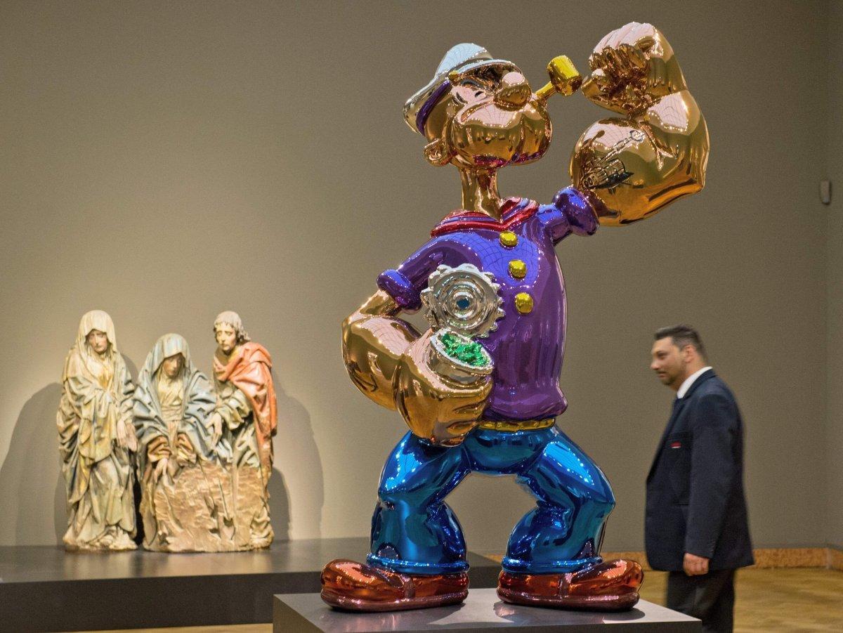 Jeff Koons Lune Des Sculptures Popeye Rachete Par L